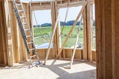 Framework house - under construction. Royalty Free Stock Images