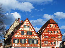 Framework houses. Old framework houses on a market in Germany stock photography