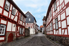 Framework houses in historical city Lich, Germany Stock Photo
