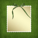 Framework for invitations. A green bow. Royalty Free Stock Images
