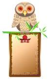 Framework-menu and owi on bamboo Royalty Free Stock Image