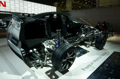 Framework of  Nissan  car. Inner view of Nissan SUV car. Moscow International Automobile Salon' 2008 will take place August 27 through September 7, 2008 in Stock Photo