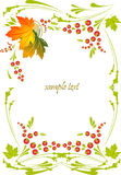 Framework with a pattern from autumn leaves and be. Vector drawing of a framework with autumn leaves Stock Images