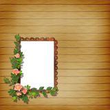 Framework for photo. On the abstract background with flowers Royalty Free Stock Photo