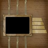 Framework for photo on the abstract background. Cord and sheet Vector Illustration