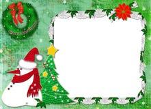 Framework for a photo for Christmas. Framework for a photo for Christmas, with snowball, fur-tree and a wreath Stock Photos