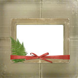 Framework for a photo or invitations. A red bow Stock Photos