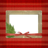 Framework for a photo or invitations. A red bow Royalty Free Stock Photos