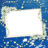 Framework for a photo or letter. On the sea background Royalty Free Stock Photography