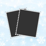 Framework for a photo on snow. Background Stock Photo
