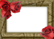 Framework for photos. With musical notes and roses royalty free stock photo