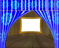 Framework for a picture. Framework for a picture behind curtains Royalty Free Stock Photos