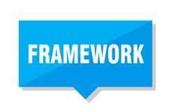 Framework price tag. Framework blue square price tag Stock Images