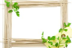 Framework for recipes from a spaghetti. Cheese and greens Royalty Free Stock Images