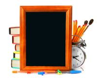 Framework and school tools. On white background. Royalty Free Stock Image
