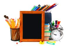 Framework and school tools. On white background. Royalty Free Stock Photos