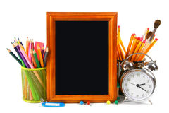 Framework and school tools. On white background. Stock Image