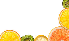 Sliced citrus fruits. Framework of sliced citrus fruits Stock Photography