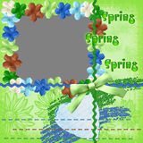 Framework spring with flowers. Of green colour with cut for a photo Royalty Free Stock Images