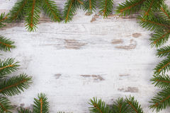 Framework of spruce branches for Christmas on old wooden plank Royalty Free Stock Image