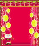 Framework style card with christmas balls and Santa Claus Stock Images