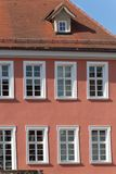 Framework townhall rooftop and facades in south germany. Historical city named schorndorf near stuttgart area royalty free stock images