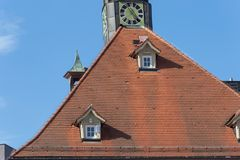 Framework townhall rooftop and facades in south germany. Historical city named schorndorf near stuttgart area royalty free stock photos
