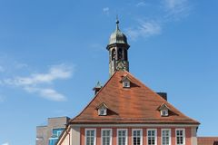 Framework townhall rooftop and facades in south germany. Historical city named schorndorf near stuttgart area stock image