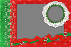 Framework for a two photo for Christmas. With lace and lacing Royalty Free Stock Photography