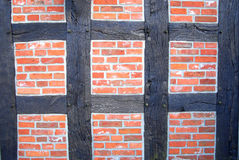 Framework wall. An very old wall with brick and wood royalty free stock image