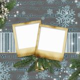 Frameworks for photos on a Christmas background Stock Images