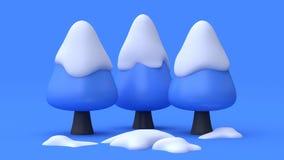 Framför abstrakt tecknad filmstil för tre träd med bakgrund 3d för den blåa platsen för snö blå naturvinterbegrepp royaltyfri illustrationer