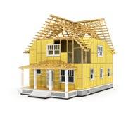 Framför av hus i konstruktionsprocess Fotografering för Bildbyråer