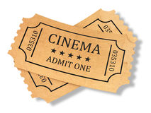 Framför av retro biobiljetter på vit bakgrund Royaltyfri Foto