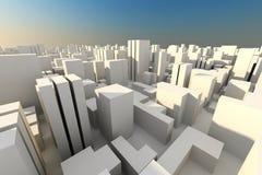framför den blåa staden för byggnader 3d skyen vit