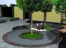 Framför den dekorativa springbrunnen för landskapdesignen, 3D Royaltyfri Foto