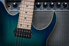 framför den elektriska gitarren för förstärkaren 3d Fotografering för Bildbyråer