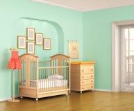 framför den färgrika frontal inre barnkammare 3d sikt stock illustrationer