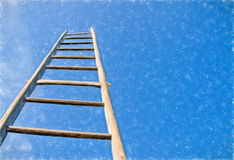 framför den höga isolerade stegen för karriären 3d upplösning vit royaltyfria bilder