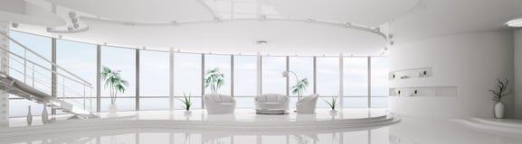 framför den inre moderna panoramat för lägenheten 3d Arkivfoton