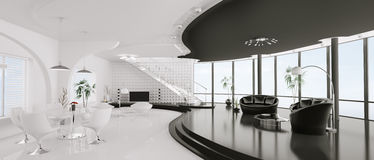 framför den inre moderna panoramat för lägenheten 3d Arkivfoto