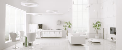 framför den inre moderna panoramat för lägenheten 3d Arkivbild