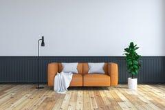 framför den inre rumdesignen för tappning, den bruna lädersoffan på den wood durken och den mörka ramväggen /3d Royaltyfria Bilder