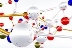 framför den komplicerade molekylen för atomen 3d strukturen Fotografering för Bildbyråer