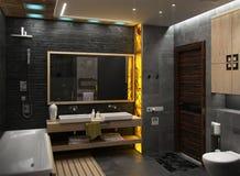 Framför den minimalist inredesignen för badrummet, 3D Royaltyfri Fotografi