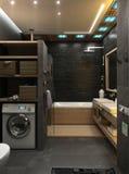 Framför den minimalist inredesignen för badrummet, 3D Royaltyfri Foto