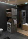 Framför den minimalist inredesignen för badrummet, 3D Arkivbilder