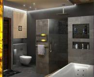 Framför den minimalist inredesignen för badrummet, 3D Royaltyfria Bilder