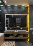 Framför den minimalist inredesignen för badrummet, 3D Fotografering för Bildbyråer