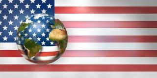 Framför den världsomspännande globala planeten 3d för USA flaggan Beståndsdelar av denna im Royaltyfri Foto